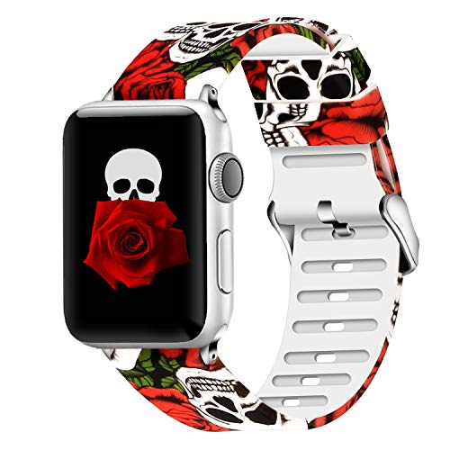 Lwsengme Compatible with Apple Watch Band 38mm 40mm 42mm 44mm, Soft Flower Printed Replacement Sport Wristbands Compatible with Watch Series 4,Series 3,Series 2,Series 1