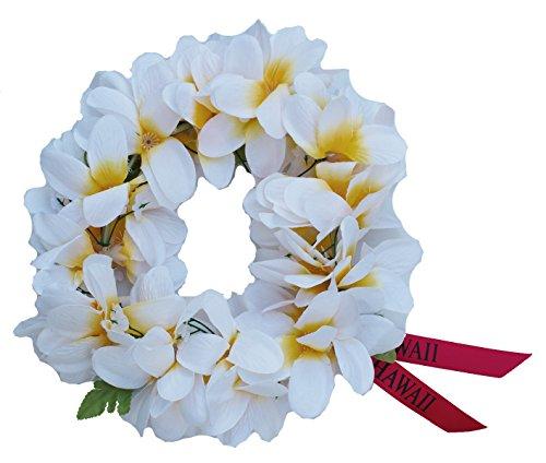 Women Floral Headband Hawaiian Plumeria Flower Haku elastic Leis (White yellow)