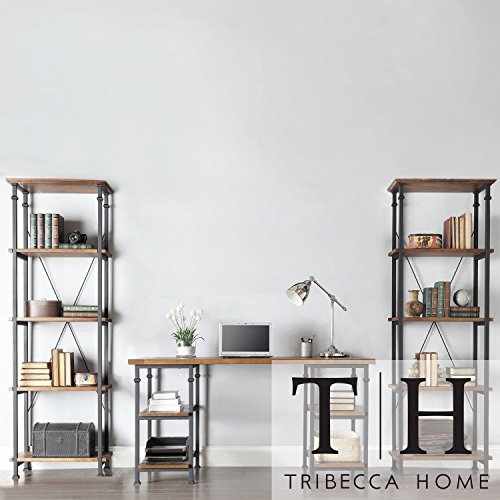 Metro Shop Tribecca Home Myra Vintage Industrial Modern Rustic 3-piece Desk Bookcase Set For Sale