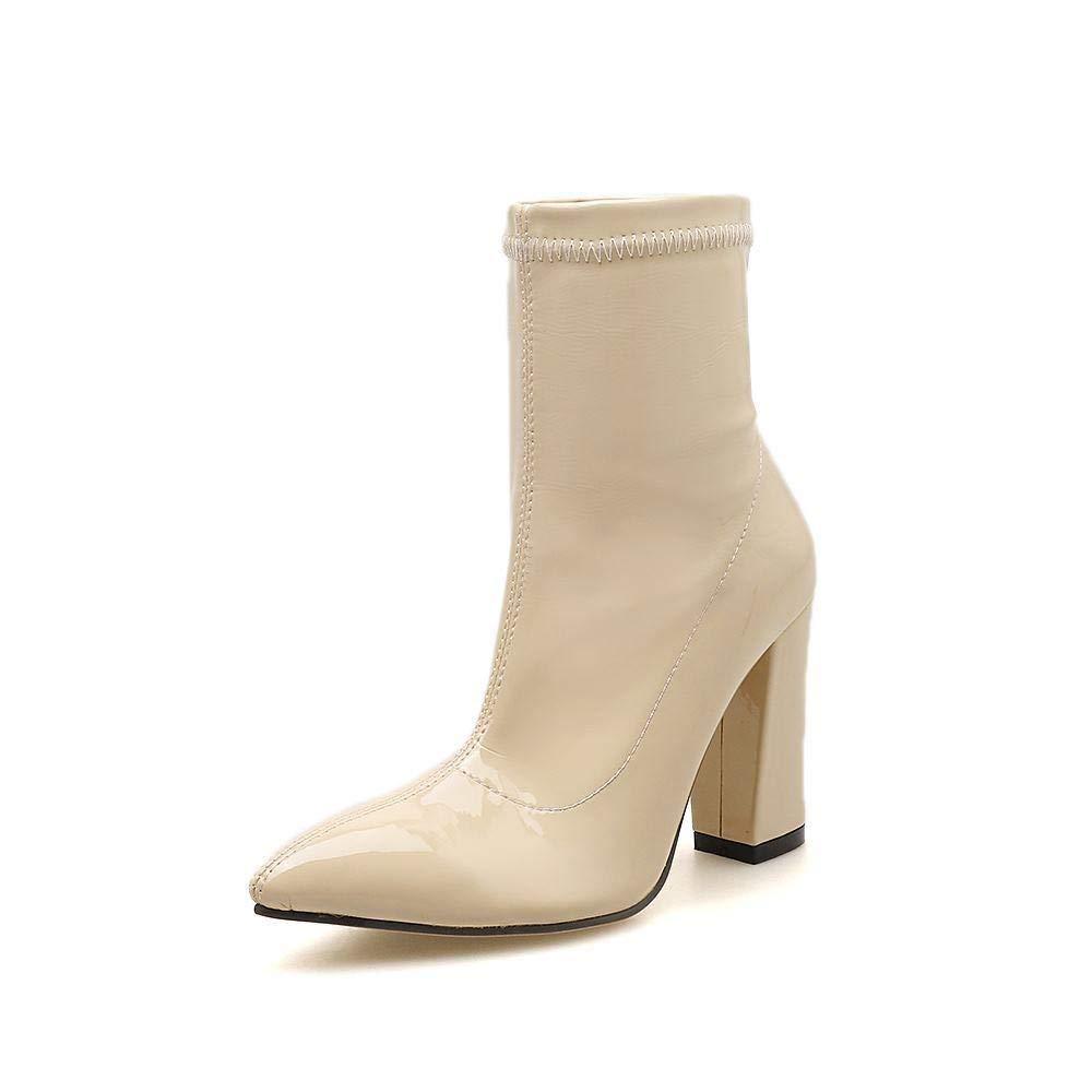 GSAYDNEE Spitze mit elastischen Stiefeln Glatte Damenstiefel aus Lackleder (Farbe   Apricot Größe   39)