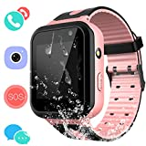 Kids Waterproof Smartwatch with GPS Tracker - Boys & Girls IP67 Waterproof Smart Watch Phone with Camera Games Sports Watches Back to School Supplies Grade Student Gifts (01 S7 Pink Waterproof Watch)