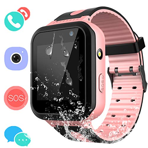 Kids Waterproof Smart Watch Phone - Boys & Girls IP67 Water-Resistant Smart Watch Phone with Camera Games Sports Watches Back to School Supplies Grade Student Gifts (01 S7 Pink Waterproof Watch)