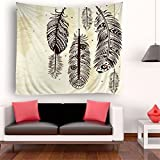 Decorative Tapestry, Wall Hanging Art for Bedroom Living Room Dorm (60x80 Inch, Feather)