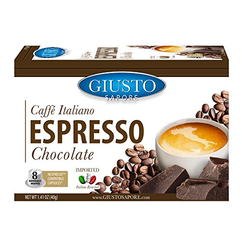 Giusto Sapore Caffe Italiano Espresso Italian Roasted Chocolate Coffee - 8 Nespresso Compatible Capsules- Premium Superior Quality Gourmet Brand - Family Owned