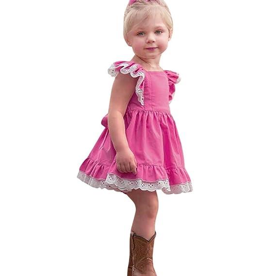 4e50931e7 K-youth Verano Vestidos para niña Vestidos Bebe niñas Ceremonia Sin Mangas  Encaje Ropa Niña Vestido Infantil Fiesta Niñas Vestido de Princesa 2018 ...