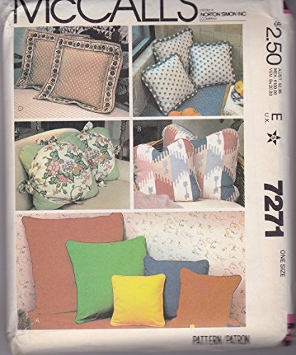 Vintage McCallu0027s 7271 Sewing Pattern Crafts Home Decorating Pillows By  McCallu0027s
