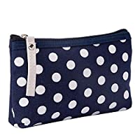 Cupcinu Cosmetic Pouch Makeup Bag Wash Bag Canvas Card Package Key Bag Mobile Phone Bag Travel Carrying Case with Dots Cotton and Linen 1pc(Blue)