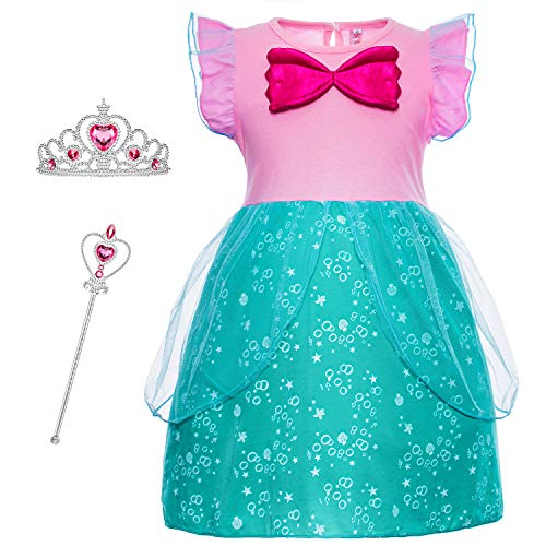 Princess Ariel Little Mermaid Costumes Dresses Clothes Skirts for Toddler Girls Cosplay Dress Up Birthday Party with Tiara and Magic Wand Accessories Size 5t 6t L(6) 5-6 Years ()