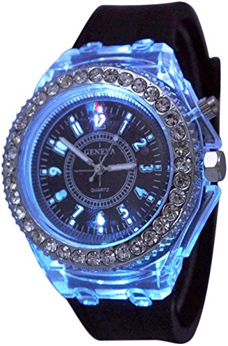 Fanmis Children Students Sports Rhinestone LED Flashing Light up Color Changing Silicone Jelly Watch