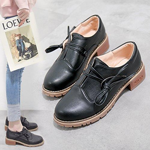 Con GAOLIM Gruesas Pequeño Negro Alumnas Zapatos Solo Versátil Zapatos En Primavera Zapatos Y De Mujer xrqPwnITr