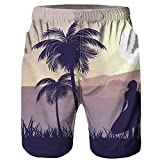 F_Gotal Men's Swimming Trunks Quick Dry Board Shorts 3D Tree Printed Swimming Shorts Boxer Briefs Swimwear Bathing Suits Black