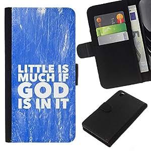 KLONGSHOP // Tirón de la caja Cartera de cuero con ranuras para tarjetas - BIBLIA Poco es mucho si Dios está en él - HTC DESIRE 816 //