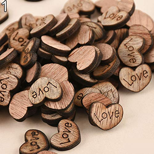 - AkoMatial Decorative Wood Wooden Buttons, Rustic Wooden 100pcs Wood Love Heart Stars Wedding Table Scatter Decoration Crafts #1
