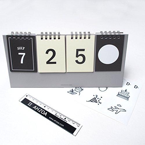 I D Day Calendar With AHZOA Mini Ruler, Countdown Standing Desk Calendar, Reversible Tent Type, Score Board Style (Ruler Type)
