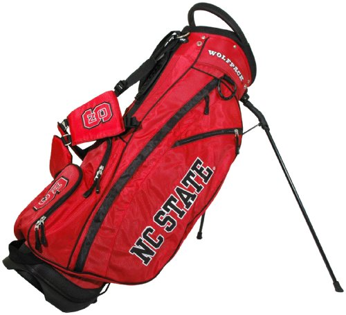 Team Golf NCAA NC State Wolfpack Fairway Golf Stand Bag, Lightweight, 14-way Top, Spring Action Stand, Insulated Cooler Pocket, Padded Strap, Umbrella Holder & Removable Rain Hood - Fairway Stand Carry Bag