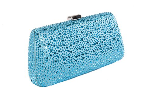 Clutch in raso con decorazione in mini borchie