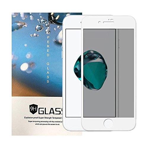 iPhone 8 Plus Privacy Screen Protector, TIAMAT Carbon Fiber HD Full Screen Tempered Glass Anti-Scratch Anti-Fingerprint Anti-Peeping Anti-Spy Privacy Film - White