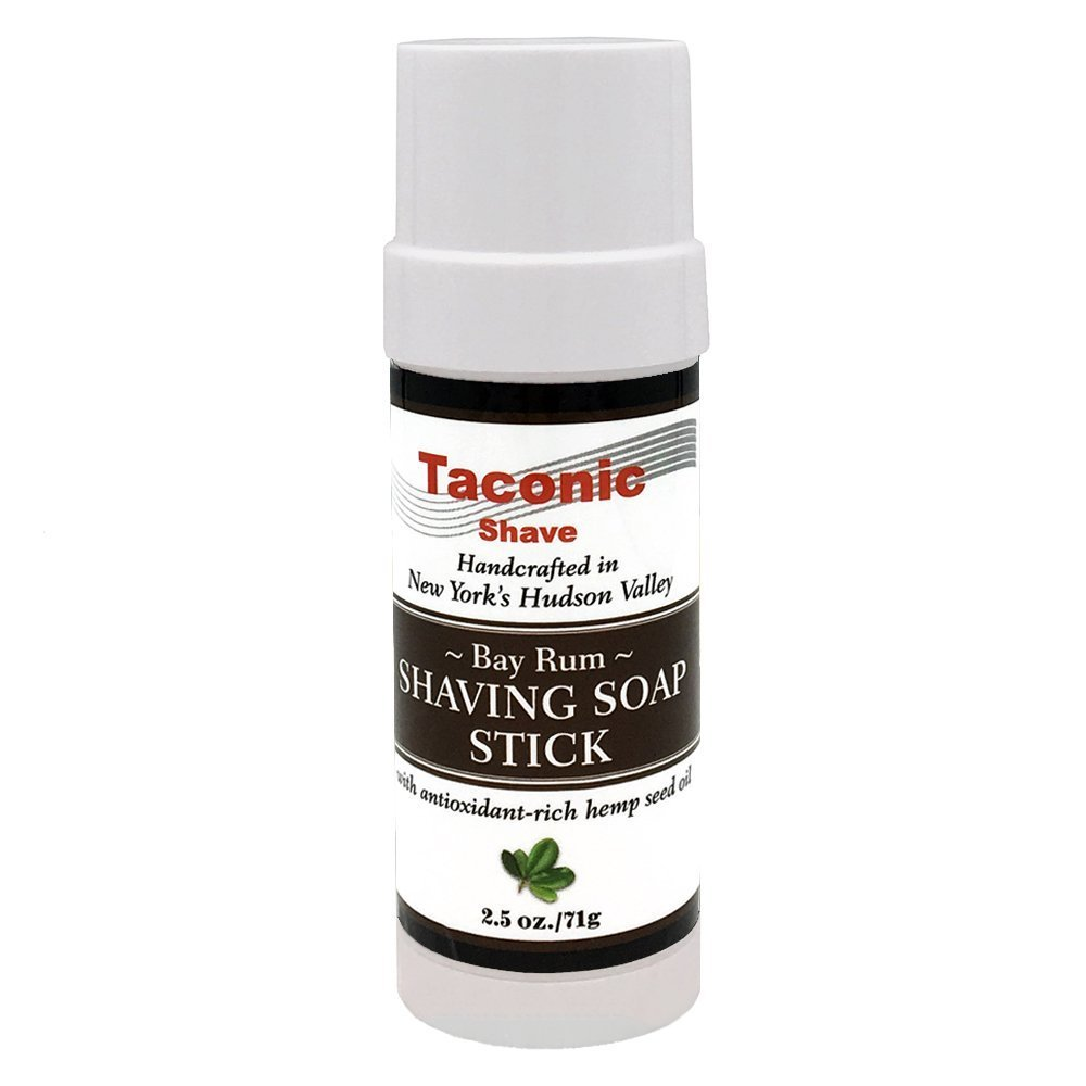 Taconic Shave Bay Rum Shaving Soap Stick with Antioxidant-Rich Hemp Seed Oil 2.5 oz./71g Parker Safety Razor