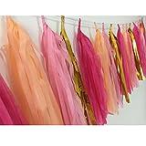 MOWO Paper Tassel Garland with String DIY Hanging Decor 1.2ft Long 20pc (metallic gold, pink, fuchsia, peach)