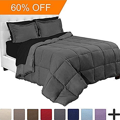 7-Piece Bed-In-A-Bag - Full (Comforter Set: Grey, Sheet Set: Black)