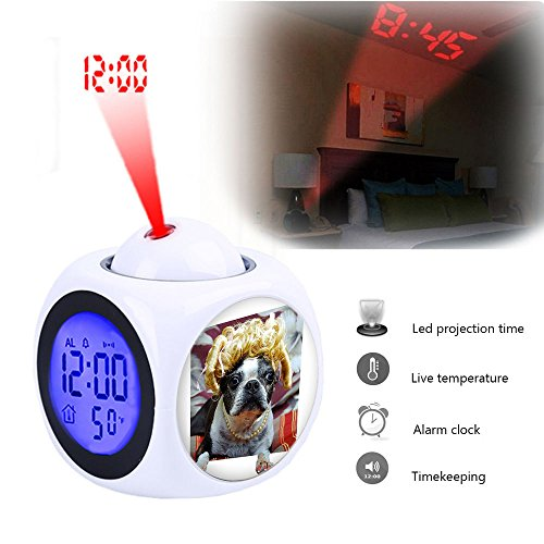 Projection Alarm Clock Wake Up Bedroom with Data and Temperature Display Talking Function, LED Wall/Ceiling Projection,Customize the pattern-036.Boston Terrier Pedicure