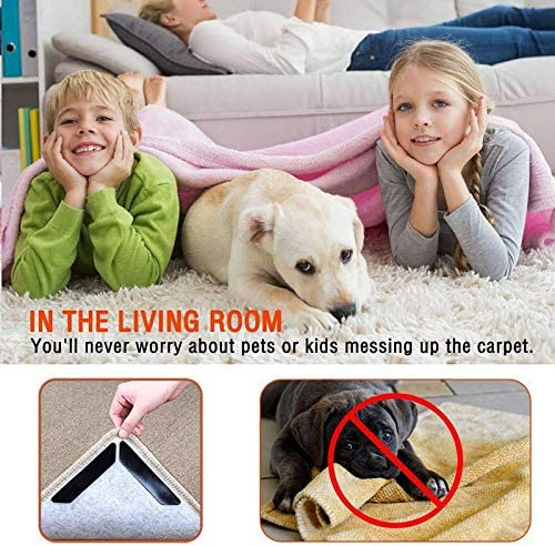 Rug Grippers with Super Stickiness Large Size Anti Curling Carpet Tape Non-Slip Area Keeps Your Rug in Place and Makes Corners Flat for Corners and Edges Renewable 8pcs