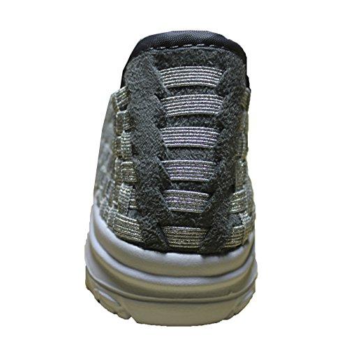 Blanco Acuaticos Plateado Trenzadas Elásticas Deporte Zapatos Transpirable Plata Bajas Suecos FERETI Elastico xqAvEttI