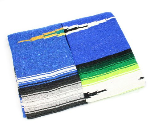 Hand Woven Diamond Mexican Yoga Blankets Royal Blue