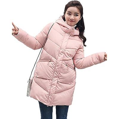 Abrigo de Cremallera Acolchado Chaqueta Largo con Capucha de Manga Larga para Mujer Invierno: Ropa y accesorios
