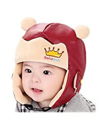 RIY Baby Girls Boys Winter Bomber Trooper Hat Kids Warm Sherpa Hats with EarFlap red