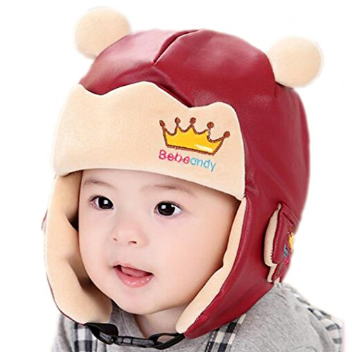 RIY Baby Girls Boys Winter Bomber Trooper Hat Kids Warm Sherpa Hats with EarFlap red (Funny But Cute Girl Halloween Costumes)