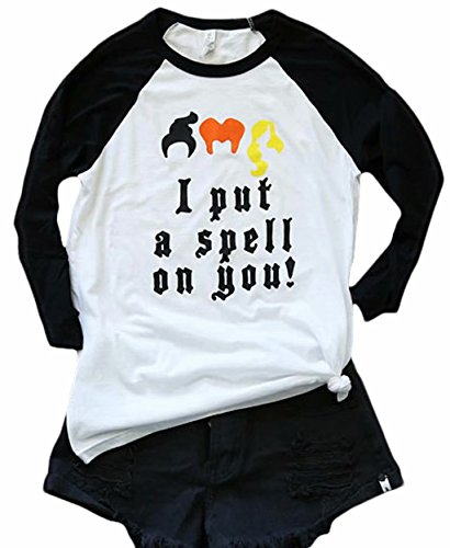I Put A Spell On You Halloween T Shirt Womens Fall 3/4 Sleeve Graphic Tees Tshirt