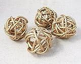 5cm 6pcs gold Vintage Wicker Cane Ball Home gardens ornament Decoration (Gold 5cm 6pcs)