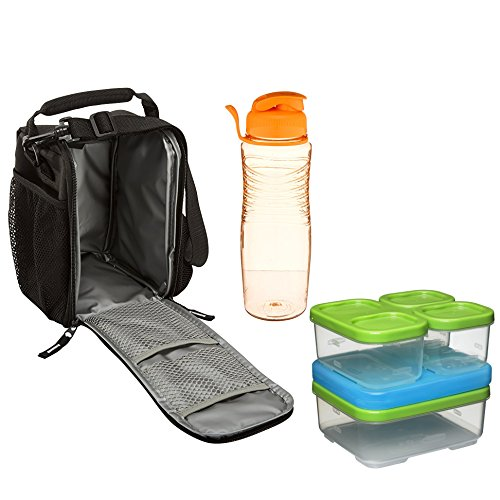 Rubbermaid Lunch Blox Combo: Small Lunch Bag, Design; Black Etch. Sandwich Kit. Reuse 20-oz Chug Bottle Assorted Colors