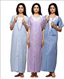 Trendy Comfortable Round neck Terry Cotton Half Sleeve Nighty Pack of 3