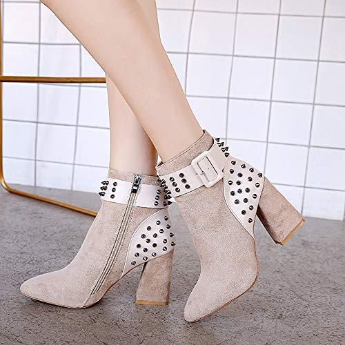 Martin Moda Beige Fiesta De Negra Mujer Zapatos Remache De Plataforma Botas ALIKEEY Alto Rosas Tacón Mostaza Botines dUqxtt