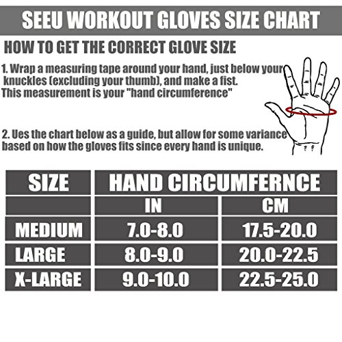 SEEU Non Wristwrap Mens Weightlifting Gloves with StretchBack Mesh (Pair)