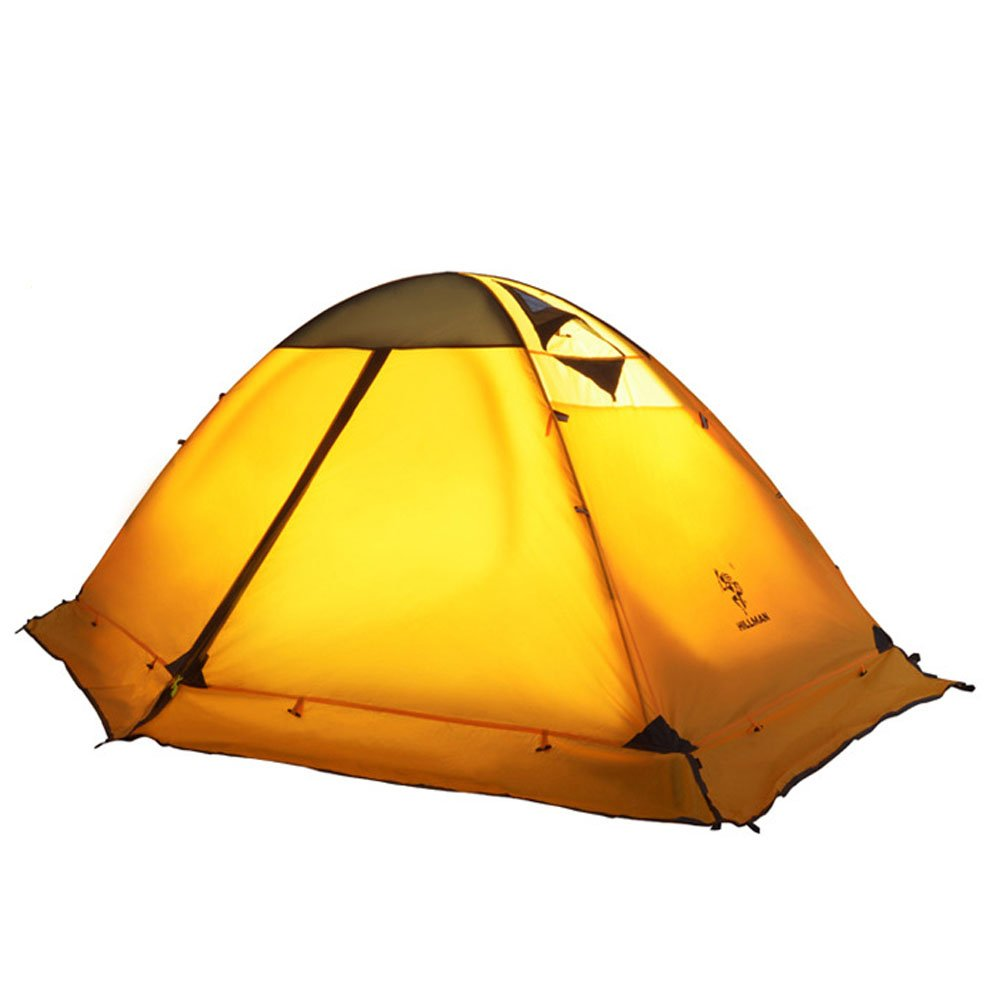 CDM product 3 Season 2-Person Double Layer Waterproof Dome Backpacking Tent Aluminum Rod Windproof for Camping Hiking Travel Climbing (Yellow) big image