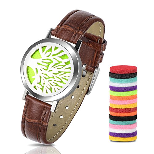 Price comparison product image Essential Oil Diffuser Bracelet,  316L Stainless Steel Aromatherapy Bracelet Leather Band, Men Women Bracelet Gift Set with 18pcs Washable Refill Pads(Brown)
