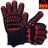 Extreme Heat Resistant 932°F Gloves Ziv'sWorkout | BBQ, Grilling, Cooking, Fireplace, Oven Mitts.Bonus meat claws included.