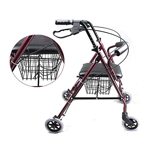 Rolling Walkers Elderly Walker, Adjustable, with seat, Suitable for The Elderly, Disabled, Patients with Mobility Problems, Four-Wheel Walking stabilizer,with Shopping Basket