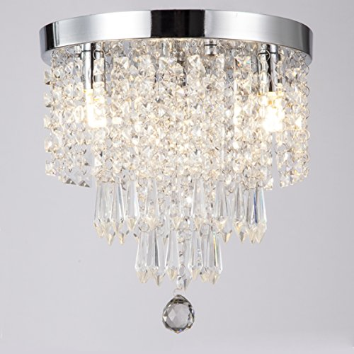 ZEEFO Crystal Chandeliers, Modern Pendant Flush Mount Ceiling Light Fixtures,3 Lights, H10.2 W9.8 Inches, Contemporary Elegant Design Style Suitable For Hallway, Living Room, Dining Room