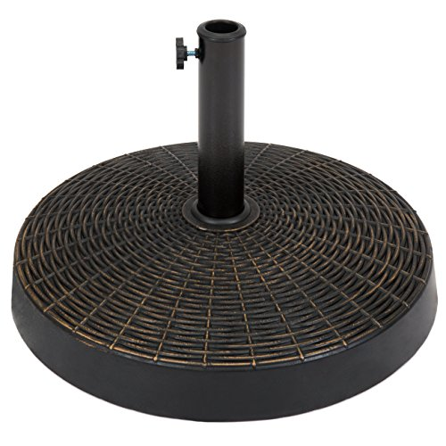 (Best Choice Products 55lb Round Wicker Style Resin Patio Umbrella Base Stand w/ 1.75in Hole, Blackened Bronze Finish, Rust Resistance)