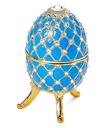 Musical Christmas Egg - Sparkling Blue Egg Shaped Musical Jewelry Box with Crystallized Swarovski Elements playing Waltz of the Flowers