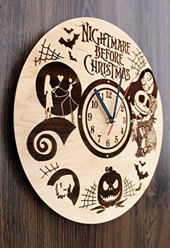 Jack Skellington Sally Nightmare before Christmas Design Real Wood Wall Clock - Eco Friendly Natural Nursery Wall Decor - Creative Gift Idea for Teens and Youth by Wood Crafty Shop (Image #3)