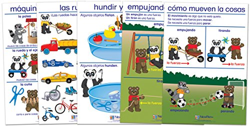 NewPath Learning 94-0326 Pushing/Moving and Pulling Bulletin Board Chart Set, Spanish Edition (Pack of 5)