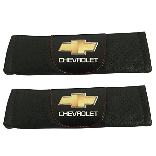 2pcs Set Chevrolet Car Seat Safety Belt Covers Leather Shoulder Pad Accessories Fit for Chevrolet Blazer Chevrolet Bolt EV Chevrolet Camaro Chevrolet City Express Chevrolet Colorado