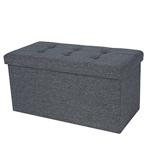Songmics 76 x 38 x 38 cm Faltbarer Sitzhocker belastbar bis 300 kg Fußbank Sitzbank Aufbewahrungsbox leinen dunkelgrau LSF47K