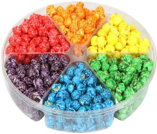 Gourmet Rainbow Coated Popcorn 6 section