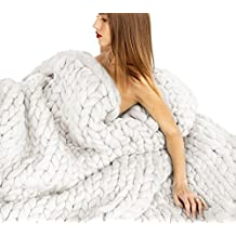 """Besporter 120150CM Handmade Giant Chunky Merino Wool Knit Throw Sofa Blanket Hand-woven Bulky Blanket Home Decor Gift (39""""47"""", white)"""